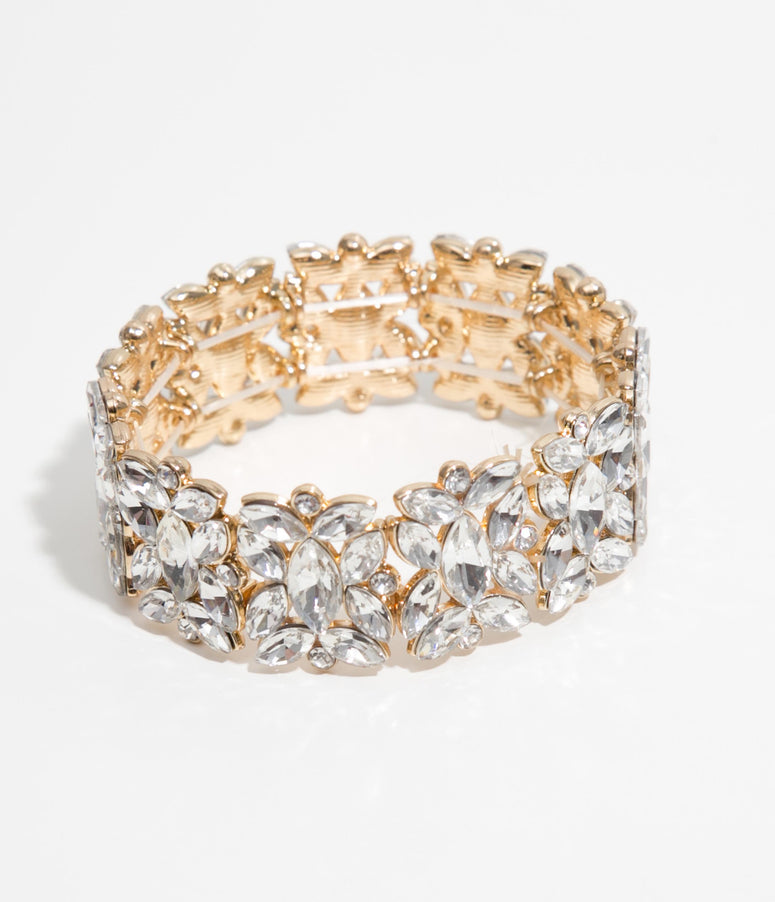Gold & Silver Crystal Stretch Bracelet