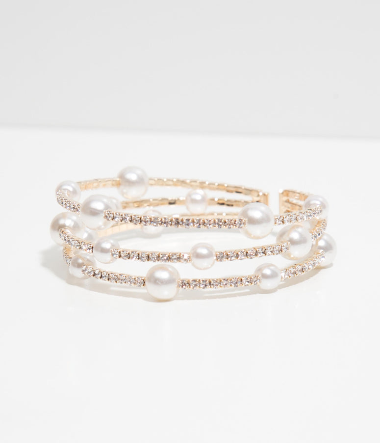 Pearl & Rhinestone Open Flex Bangle