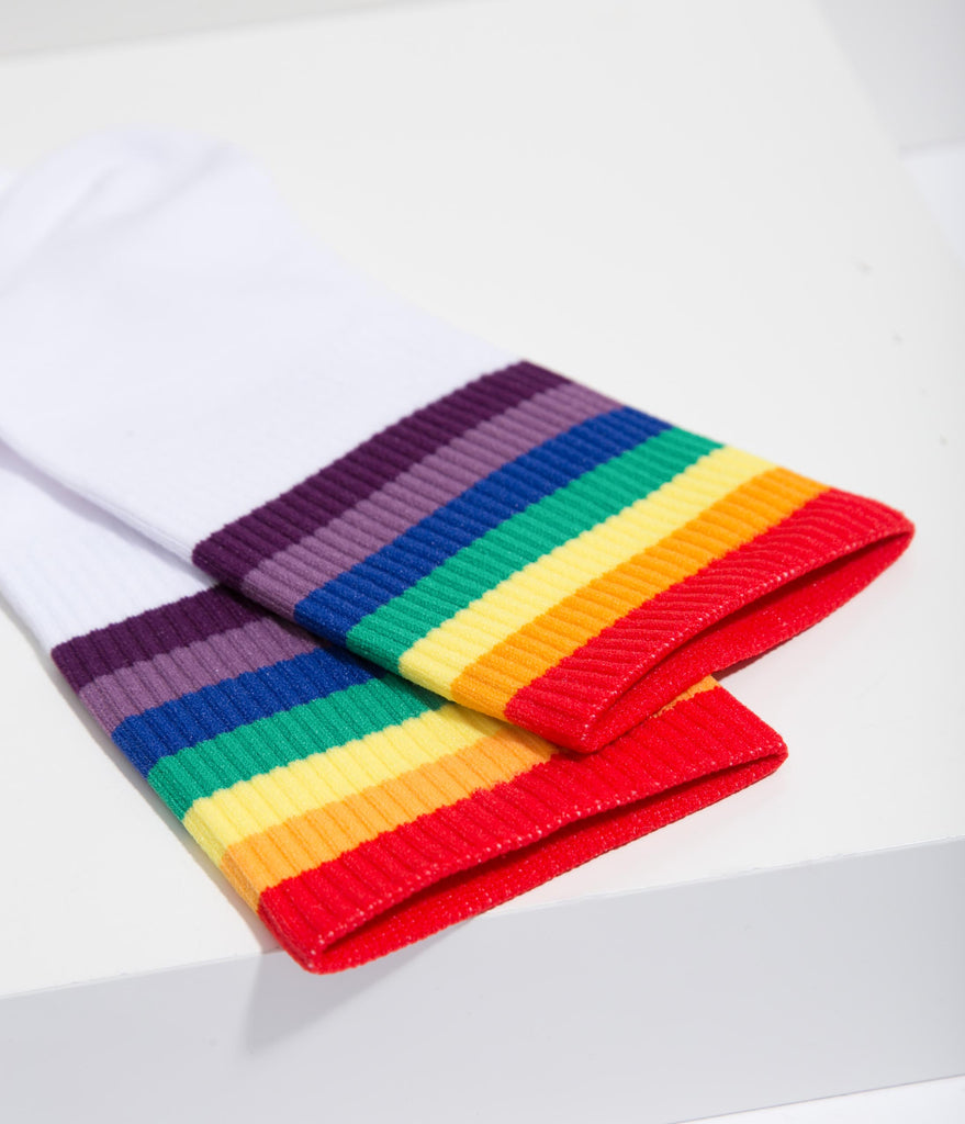 Rainbow Striped Ankle Socks