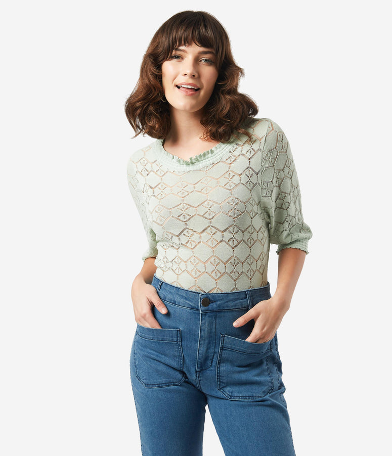 Sage Lace Crochet Blouse