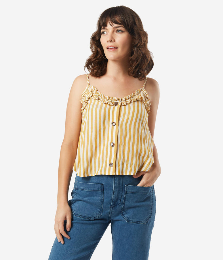 Retro Style Mustard & Ivory Stripe Summer Crop Top