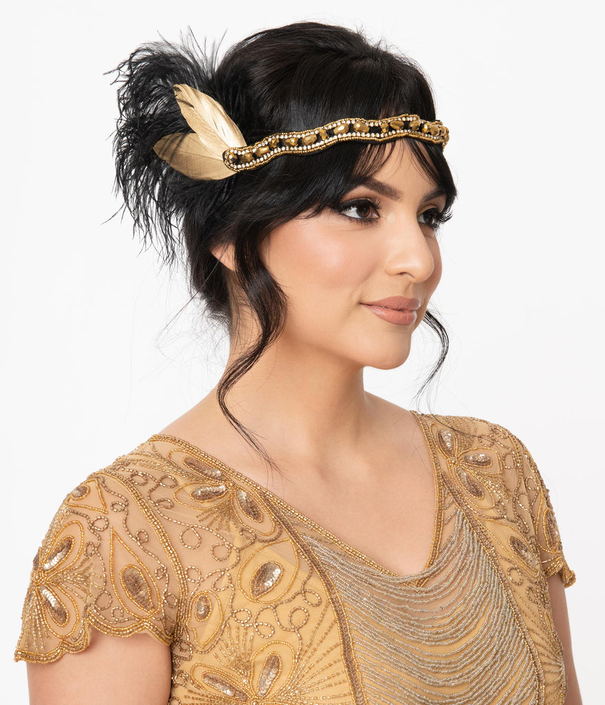 Unique Vintage 1920s Black & Gold Feather Flapper Headband