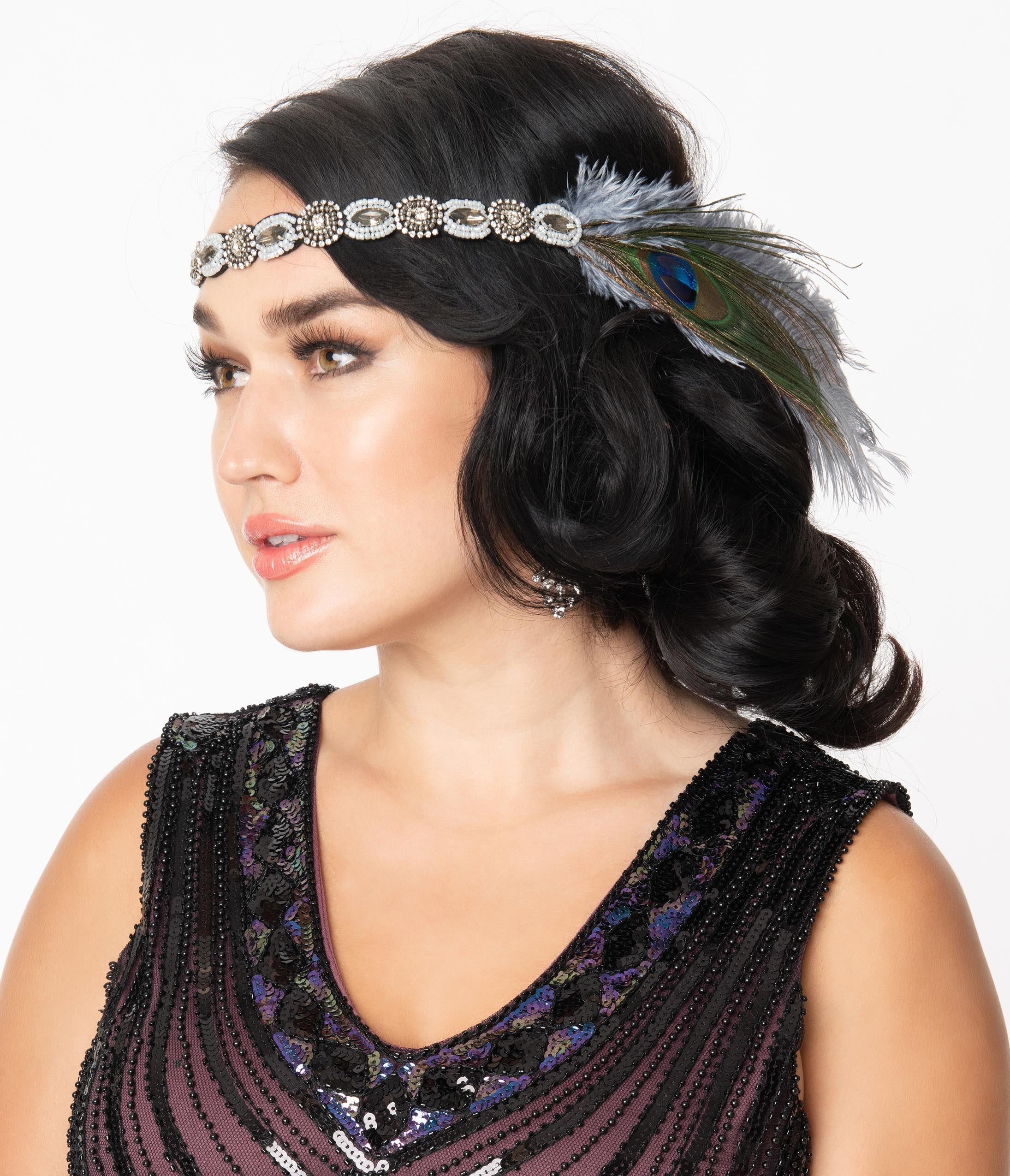 1920s Accessories: Feather Boas, Cigarette Holders, Flasks Unique Vintage Peacock  Dusty Blue Feather Beaded Flapper Headband $32.00 AT vintagedancer.com