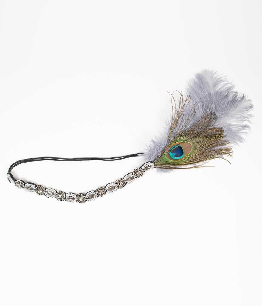 Unique Vintage Peacock & Dusty Blue Feather Beaded Flapper Headband