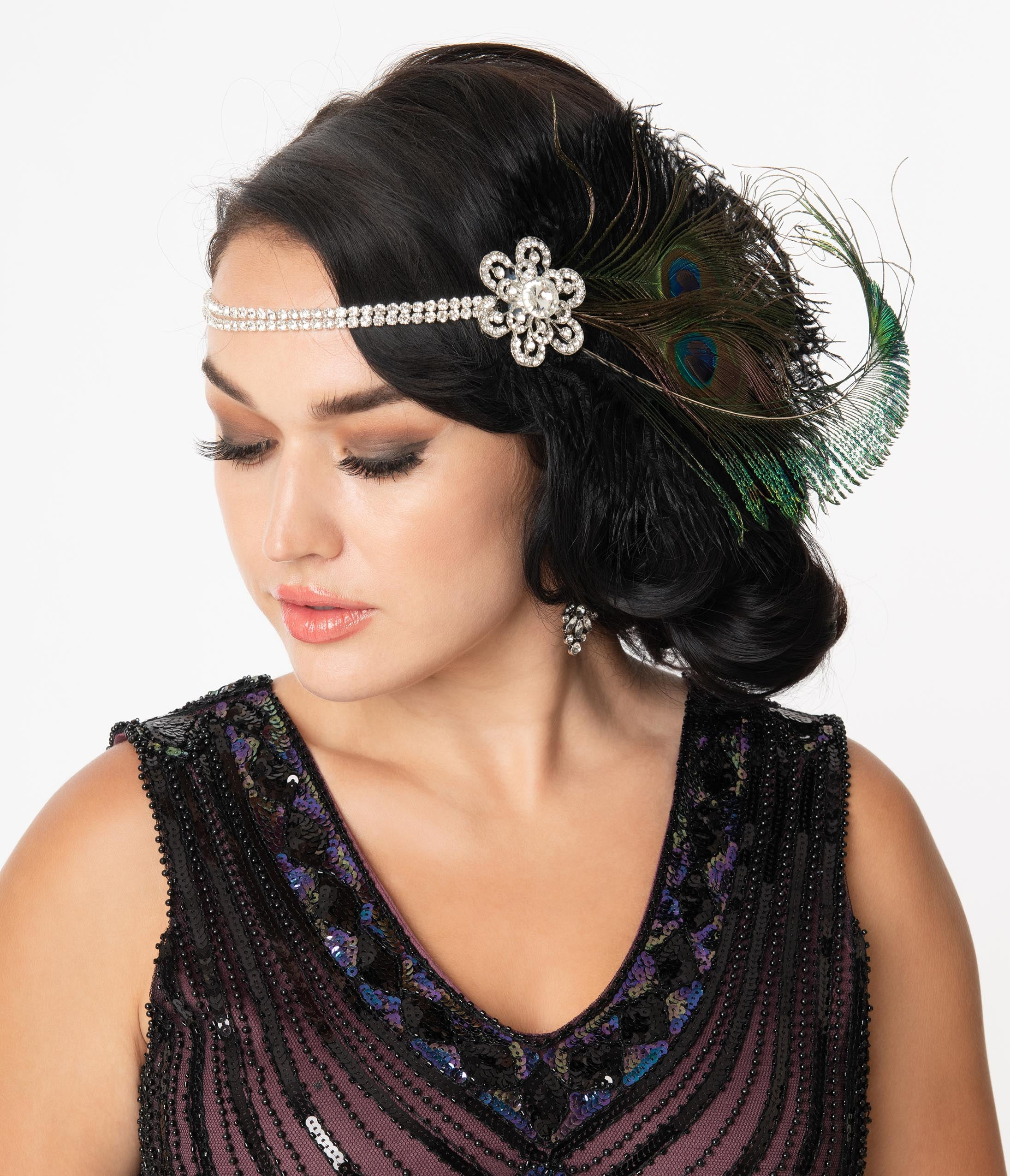 1920s Headband, Headpiece & Hair Accessory Styles Unique Vintage Dual Peacock Feather  Rhinestone Floral Flapper Headband $36.00 AT vintagedancer.com