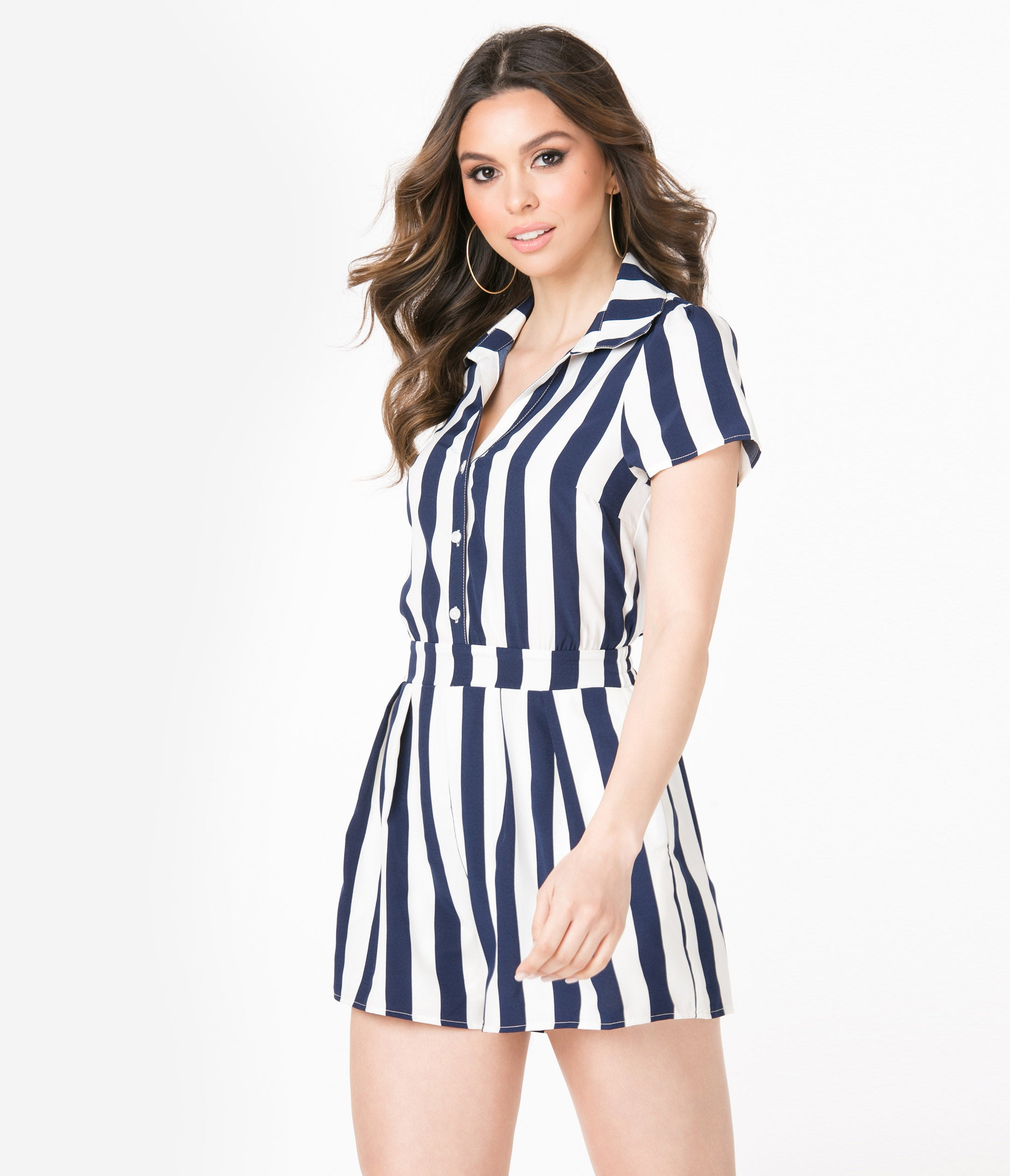 Vintage Rompers, Playsuits | Retro, Pin Up, Rockabilly Playsuits Retro Style Navy Blue  Ivory Stripe Romper $48.00 AT vintagedancer.com