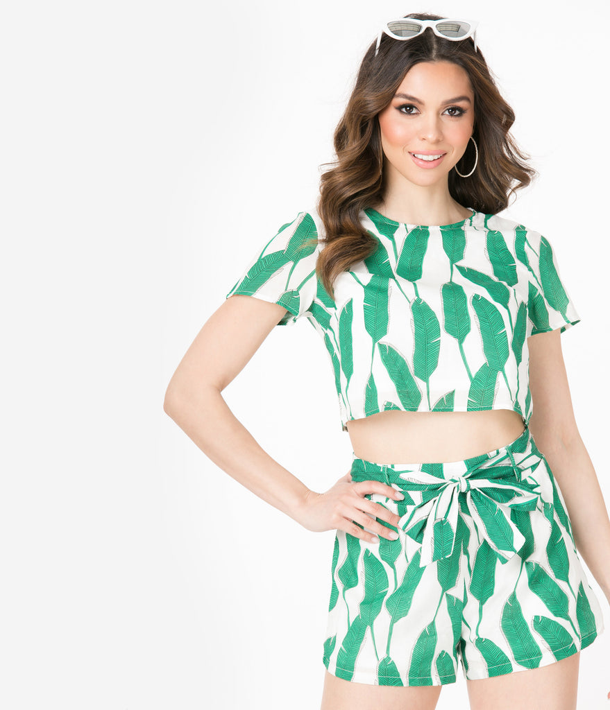 Ivory & Green Palm Leaves Crop Top & Short Set