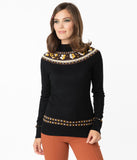 Voodoo Vixen Black Hearts & Flowers Farrow Sweater