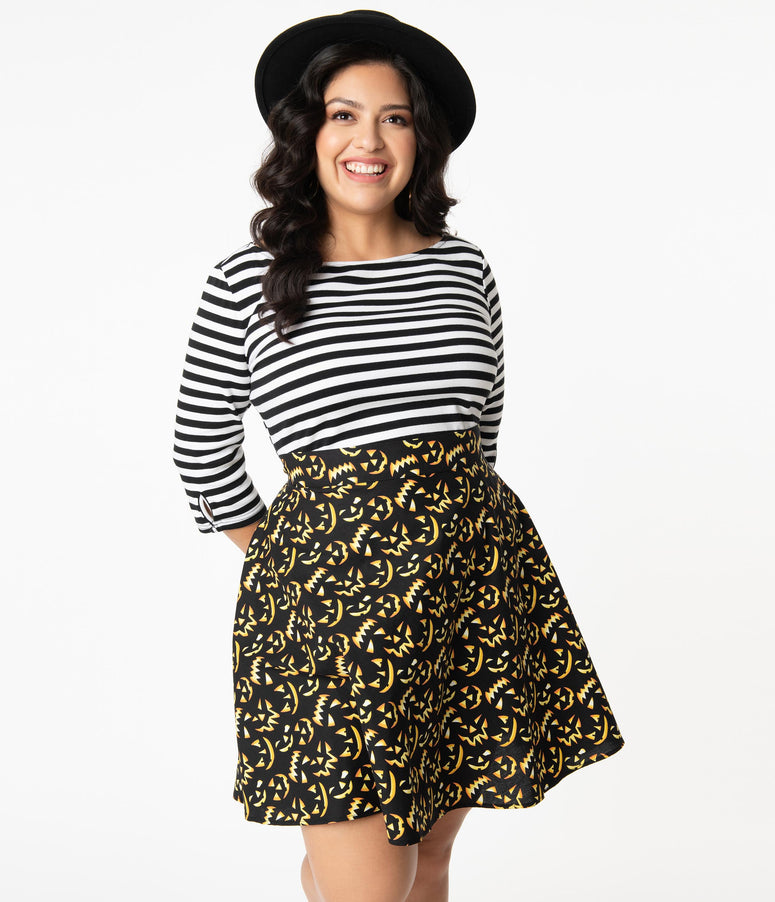 Retrolicious Plus Size Jack-O-Lantern Glow In The Dark Skater Skirt