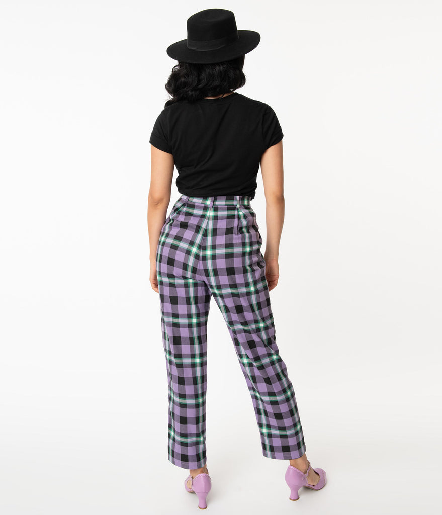 Collectif Lilac Hocus Pocus Plaid Rada Pants