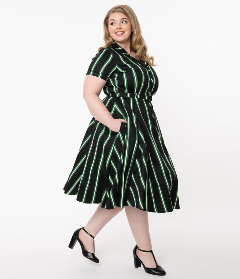 Collectif Plus Size Black & Green Witch Stripe Caterina Swing Dress