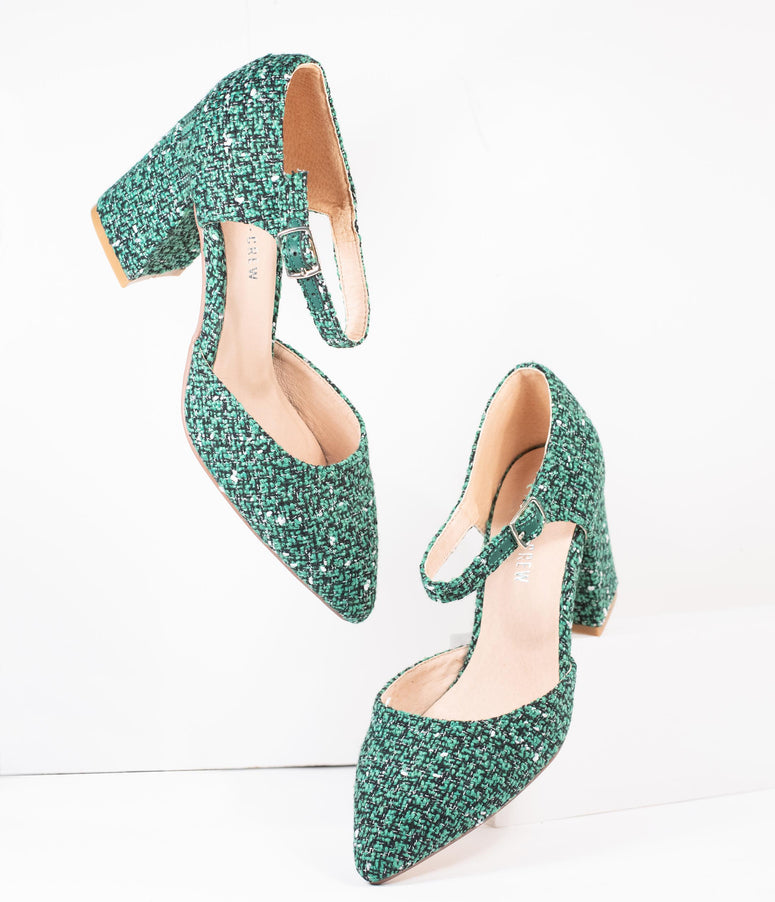 Chelsea Crew Green Tweed Textile Jillian Heels