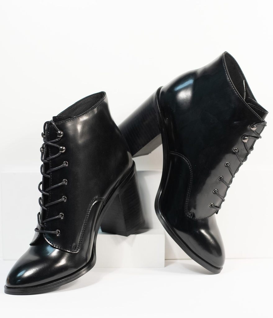 Chelsea Crew Black Patent Leatherette Klein Booties