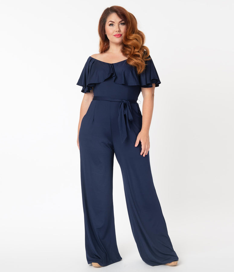 Unique Vintage Plus Size Navy Blue Ruffle Minnelli Jumpsuit