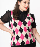 Unique Vintage Plus Size Pink & Cream Argyle Plaid Brando Sweater Vest