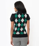 Unique Vintage Green & Grey Argyle Plaid Brando Sweater Vest