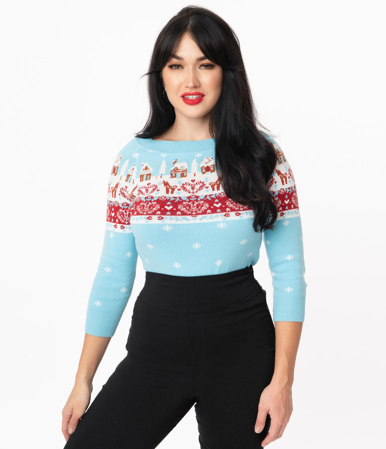 Unique Vintage Winter Holiday Fair Isle Annaleigh Sweater