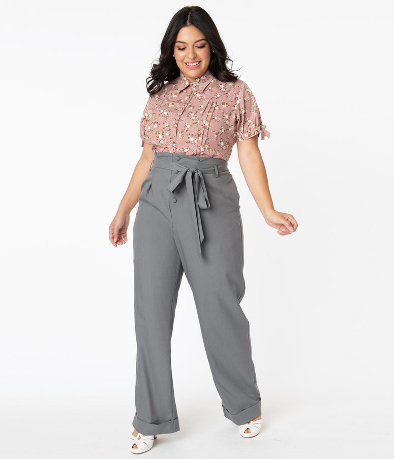 Unique Vintage Plus Size 1940s Grey Paper Bag Myrna Pants
