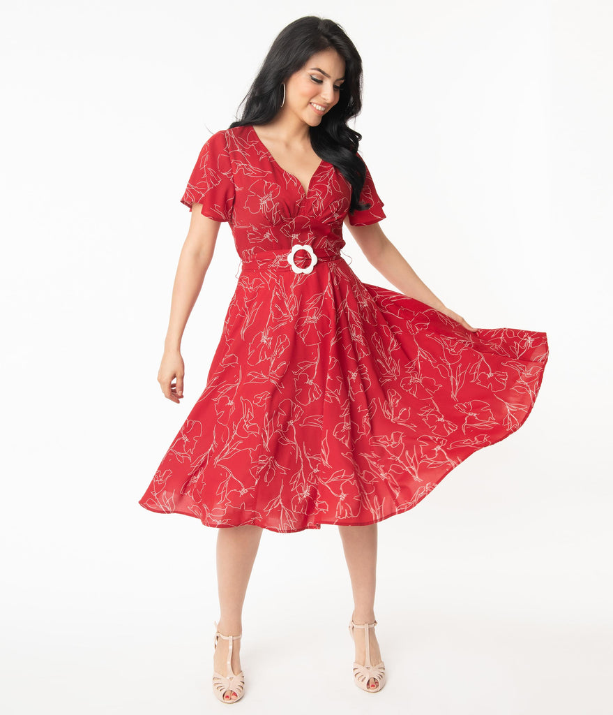 Unique Vintage 1940s Red & White Floral Outline Kay Swing Dress