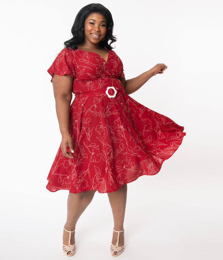 Unique Vintage Plus Size 1940s Red & White Floral Outline Kay Swing Dress