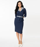 Unique Vintage Navy & Gingham Peplum Cooper Suit Dress