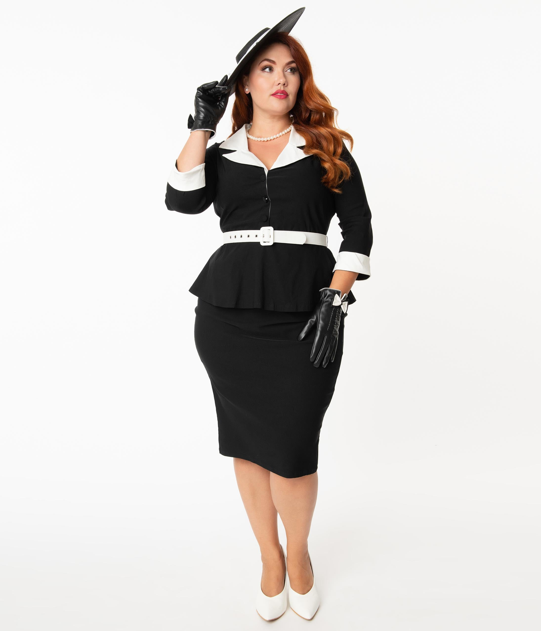1950s Plus Size Fashion & Clothing History Unique Vintage Plus Size Black  White Peplum Cooper Suit Dress $98.00 AT vintagedancer.com
