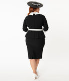 Unique Vintage Plus Size Black & White Peplum Cooper Suit Dress