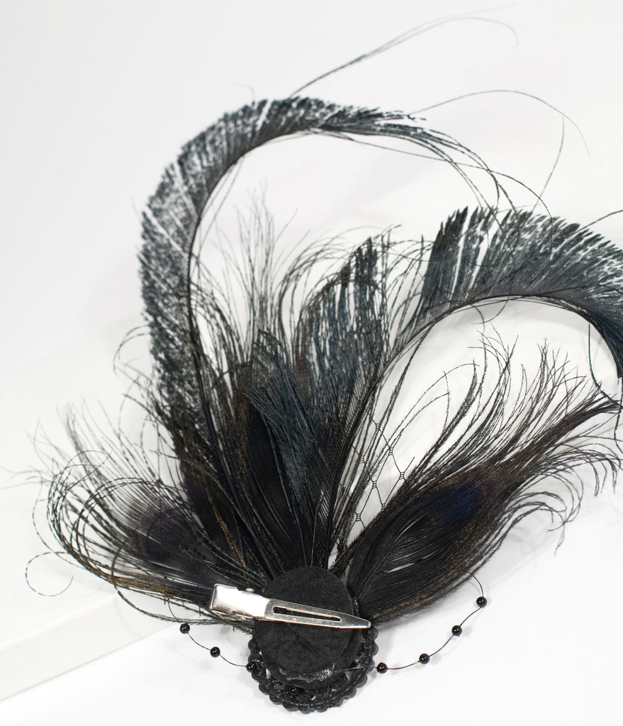 Unique Vintage 1920s Black Feather Flapper Hair Clip