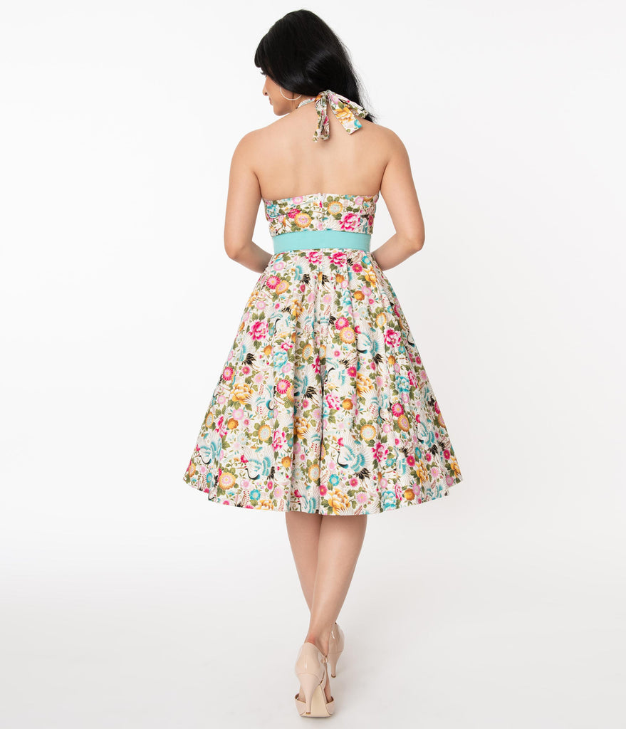 Unique Vintage Ivory & Multicolor Print Tarrytown Hostess Dress