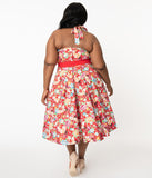 Unique Vintage Plus Size Red & Multicolor Print Tarrytown Hostess Dress