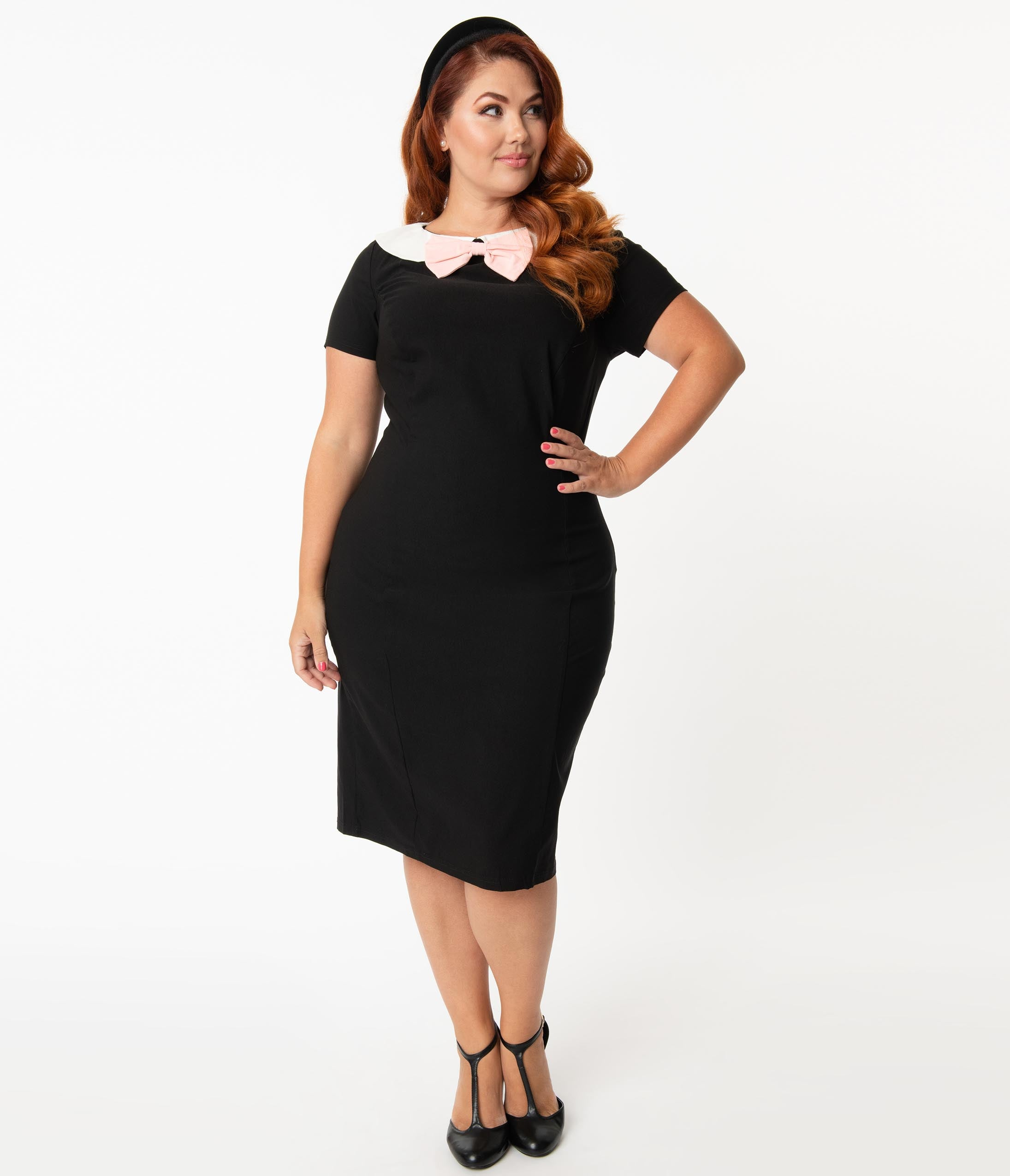 1950s Plus Size Fashion & Clothing History Unique Vintage Plus Size 1960S Black  White Collar Plaza Wiggle Dress $58.00 AT vintagedancer.com