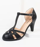 Unique Vintage Black Leatherette Woven T-Strap Heels