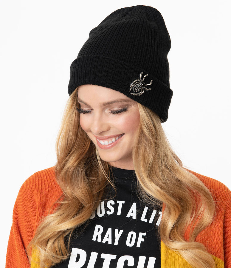 Black Rhinestone Spider Beanie Knit Hat