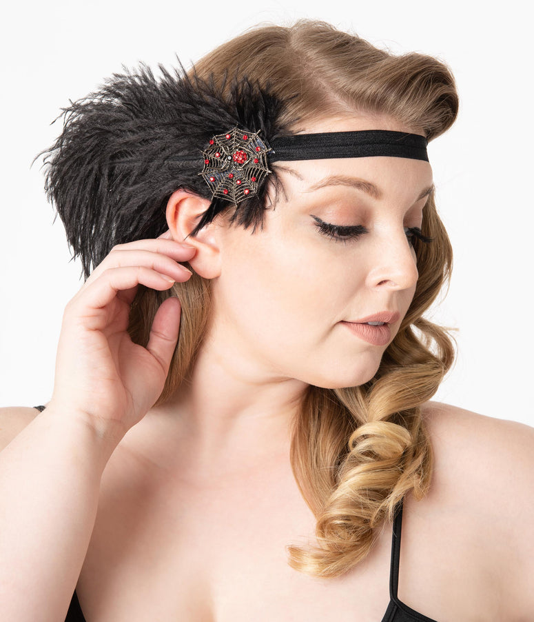1920s Style Black Feather Spider Web Headband