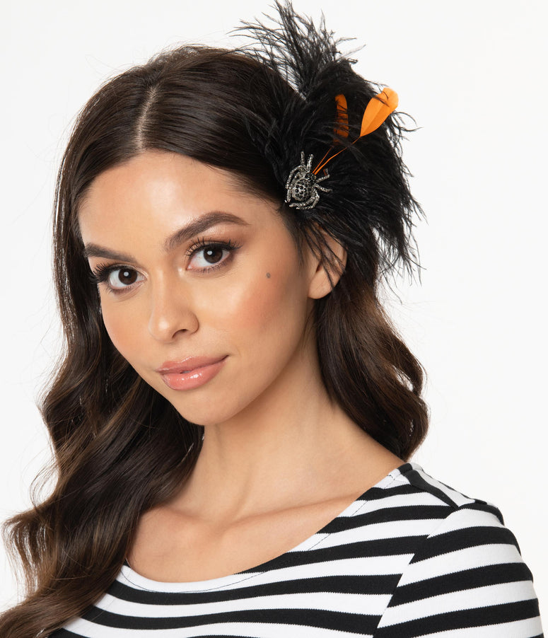 Orange & Black Feather & Rhinestone Spider Hair Clip