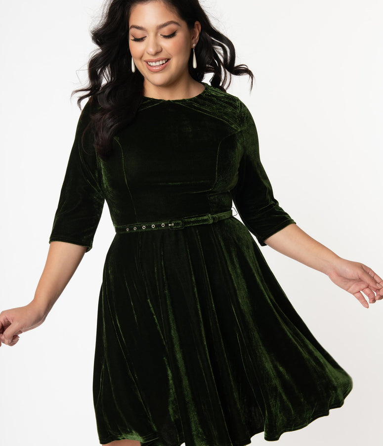 Unique Vintage Plus Size Olive Green Velvet Stephanie Fit & Flare Dress