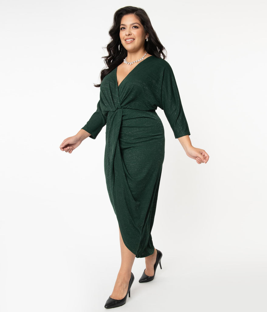 Unique Vintage Plus Size Emerald Sparkle Warhol Tulip Sheath Dress