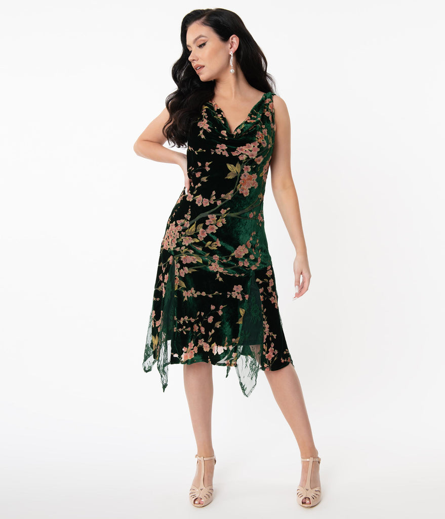 Unique Vintage 1920s Emerald Velvet Floral Burnout Hemingway Flapper Dress
