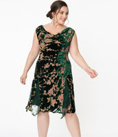 Plus Size Cowl Neck Pleated Fitted Draped Floral Print Dropped Waistline Dress