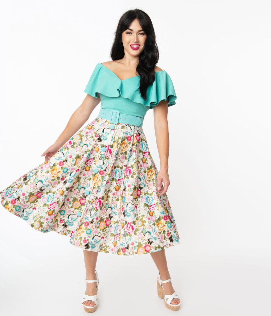 Unique Vintage Ivory & Multicolor Print Waikiki Swing Skirt