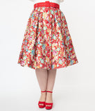 Unique Vintage Plus Size Red & Multicolor Print Waikiki Swing Skirt