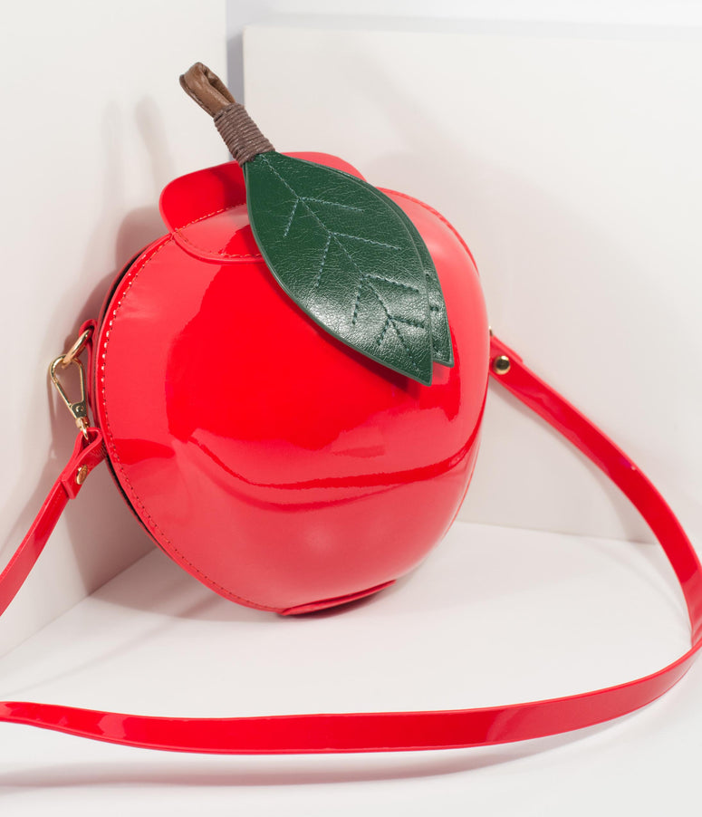 Red Apple Patent Leatherette Hard Purse