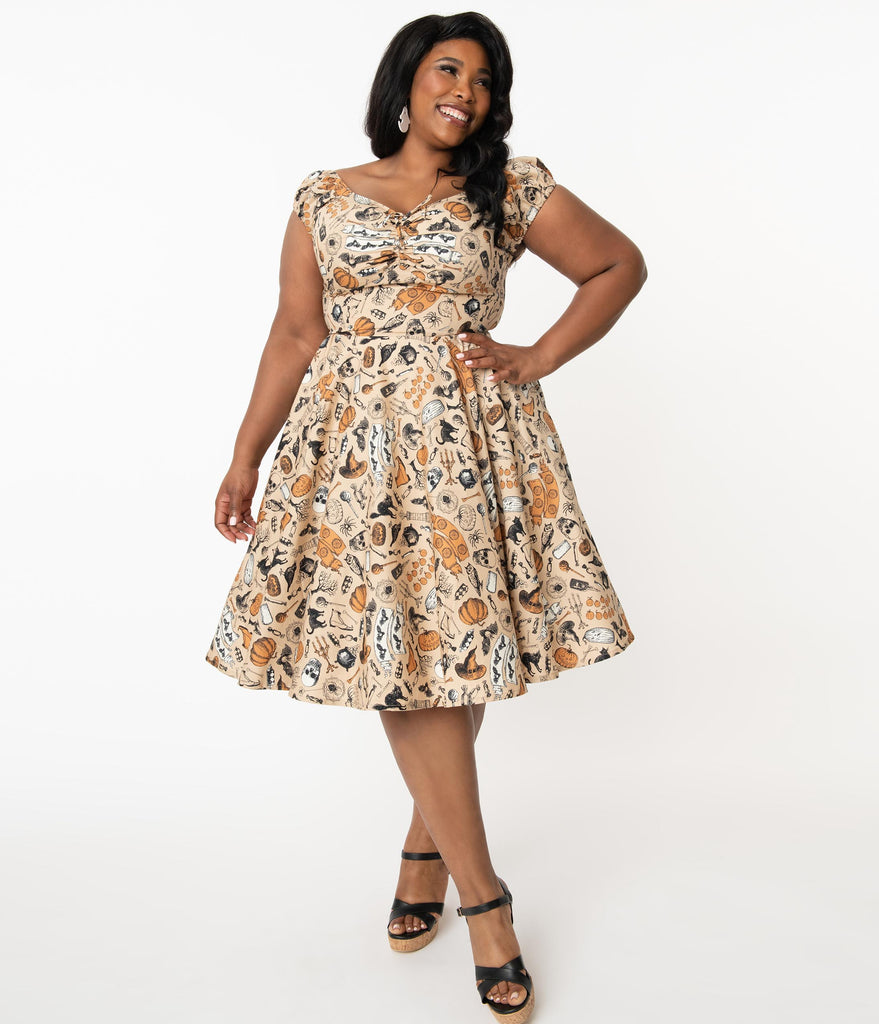 Plus Size Retro Cream Halloween Print Rose Swing Dress