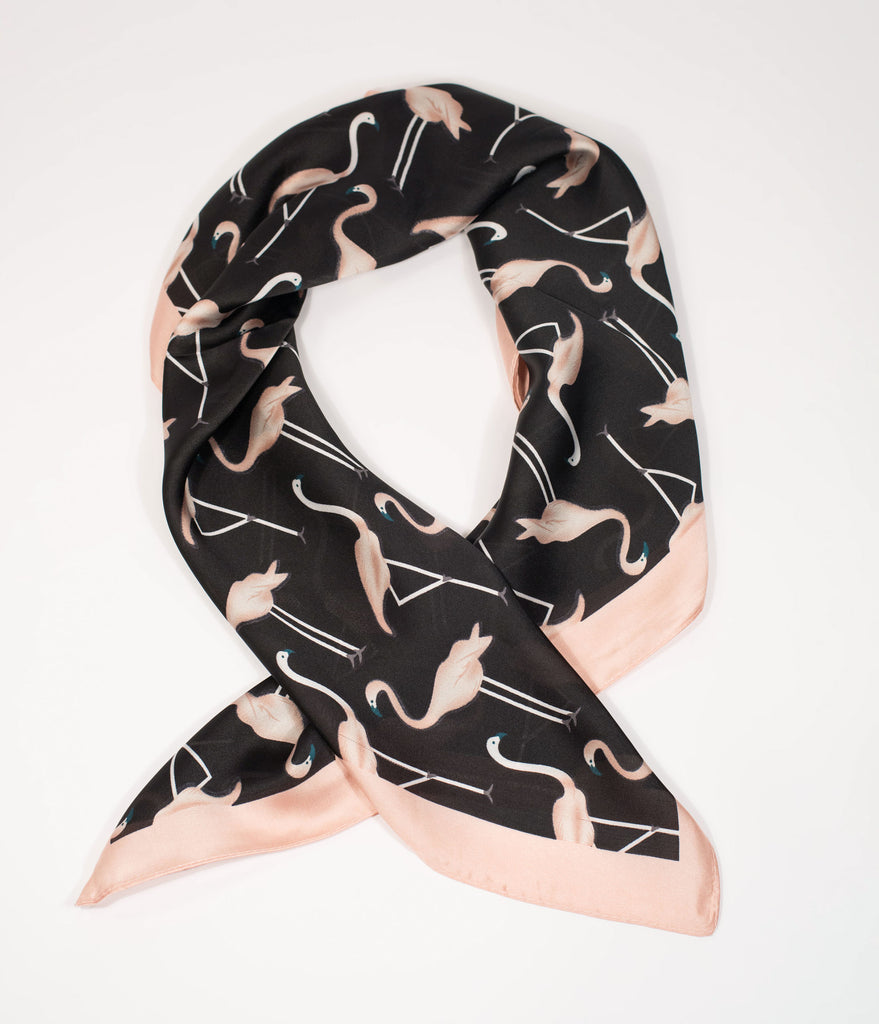Unique Vintage Flamingo Print Hair Scarf