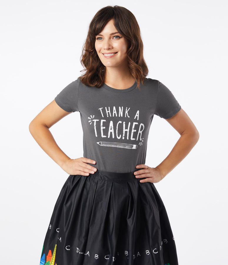 Unique Vintage Thank A Teacher Fitted Tee
