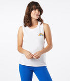 White Unisex Rainbow Patch Tank Top