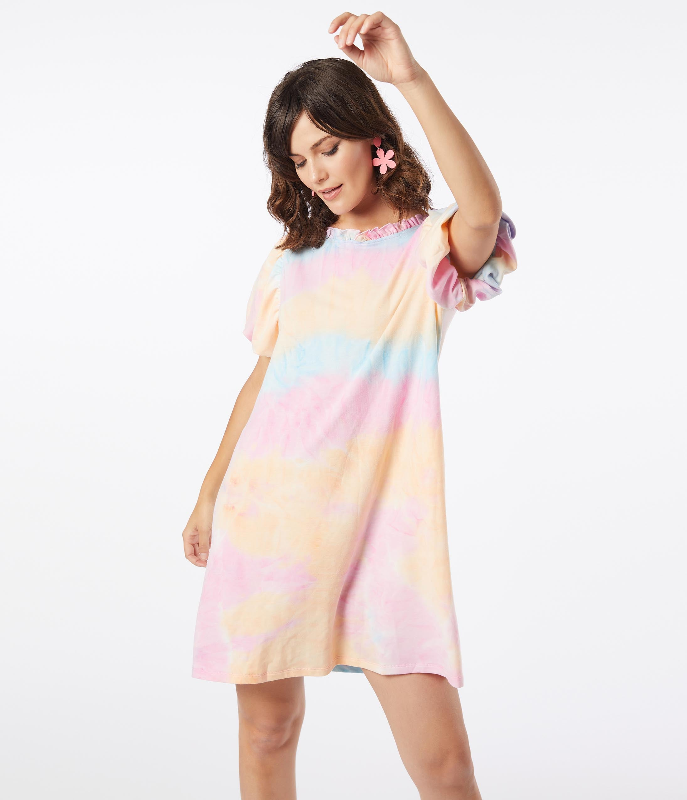 80s Dresses | Casual to Party Dresses Pastel Rainbow Tie Dye Casual Tunic Dress $48.00 AT vintagedancer.com