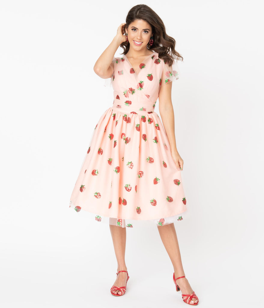 Pink Tulle & Strawberry Sequin Midori Swing Dress