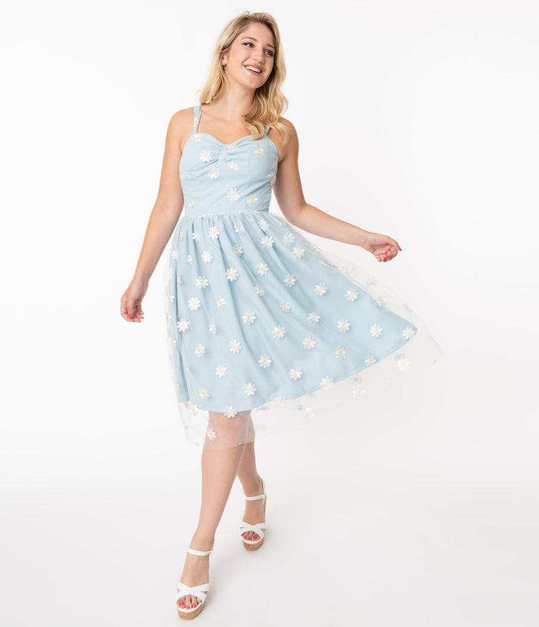 Light Blue & Daisy Floral Mesh Monica Swing Dress