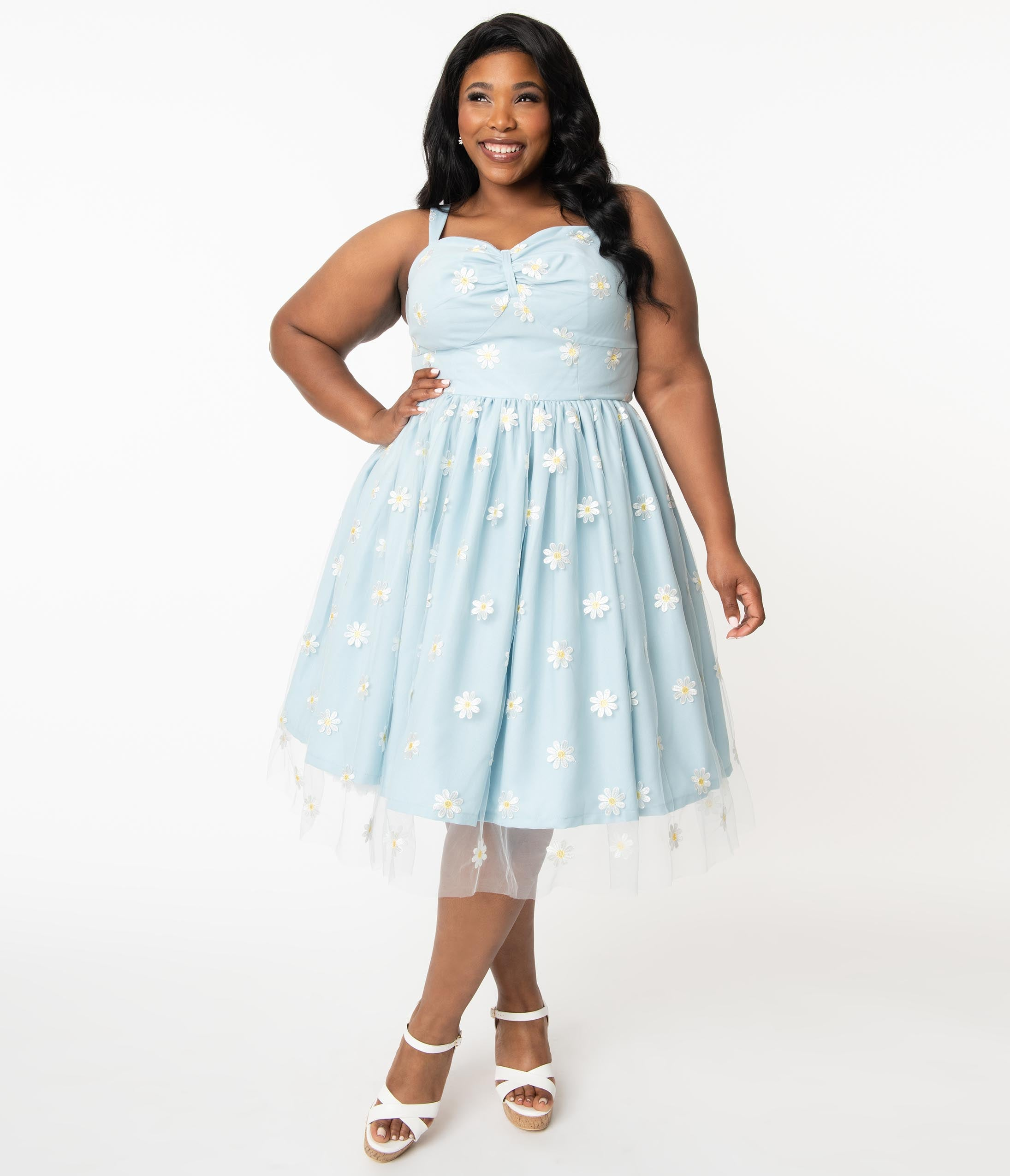 1950s Plus Size Dresses, Swing Dresses Plus Size Light Blue  Daisy Floral Mesh Monica Swing Dress $118.00 AT vintagedancer.com